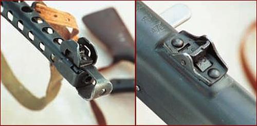 Дульный тормоз-компенсатор ППС-43 и мушка (слева). Перекидной двухпозиционный целик для дистанций 100 и 200 м (справа)