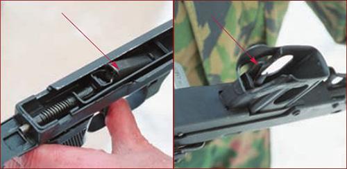 Внешний вид спускового механизма. Стрелкой показано шептало. (слева). Во избежание случайного нажатия защёлка магазина (a) размещена в гнезде приёмника (справа)