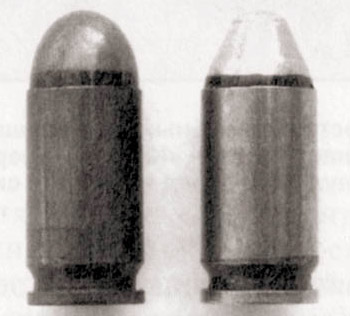9x18 мм патроны к пистолету Макарова. Обычный ПМ (слева) и высокоимпульсный ПММ