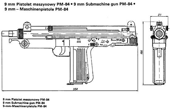 На чертеже общего вида польского пистолета-пулемета ПМ-84 можно найти много общего как с его предшественником Wz63, так и с израильским пистолетом-пулеметом «Узи»