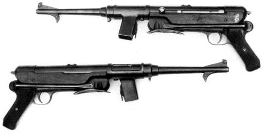 Пистолет-пулемет Эрма ЕМР-36 стал переходным вариантом от ЕМР к МР-38. Обратите внимание - гнездо магазина наклонено слегка влево и вперед. Разбирался ЕМР-36 также, как МР-38