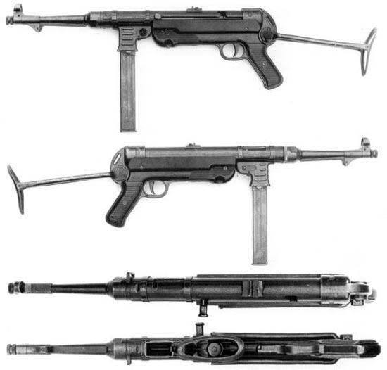 МР-40, 5-й серийный вариант. На гнезде магазина сделаны ребра жесткости; рукоятка со скобой сделана из листового металла в одну деталь; кодировка производителей - bnz43, bnz44. У данного типа рукоятка со скобой намертво крепилась к нижней частu корпуса сваркой.