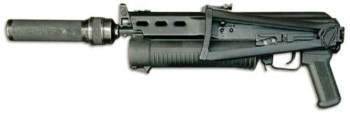 Пистолет-пулемет «Бизон-2» с прибором малошумной стрельбы (ПМС). Большая вместимость магазина и возможность оснащения ПМС делают возможным применение «Бизона» при проведение специальных операций