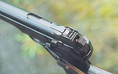 Целик пистолета барабанного типа с дальностями 25, 50, 100 и 200 метров. Стрельба на дальности свыше 50 м должна вестись с присоединённой кобурой-прикладом, в противном случае резко снижается вероятность поражения цели