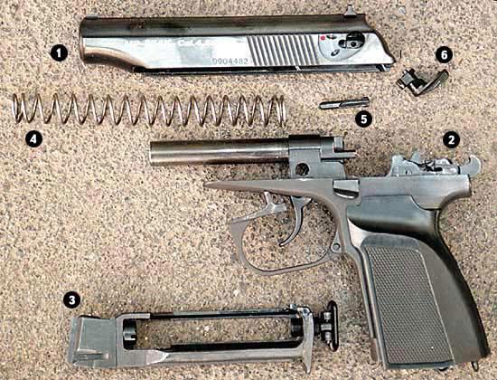 Детали пистолета МР-654К: 1 - затвор, 2 - рамка со стволом, 3 - «магазин» с клапанным устройством, 4 - возвратная пружина, 5 - ударник, 6 - предохранитель