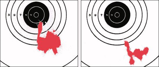 Результаты стрельбы из пистолета МР-654К стальными шариками (слева) и свинцовыми пулями. В обоих случаях было сделано по 10 выстрелов, дистанция 5 метров. Стрельба велась без регулировки прицельного приспособления. При стрельбе свинцовыми пулями пистолет превращается в однозарядный, а для вкладывания пули в ствол приходится снимать затвор и отделять магазин. Занятие довольно бессмысленное, но интересна сама возможность применения помимо шариков свинцовых пуль