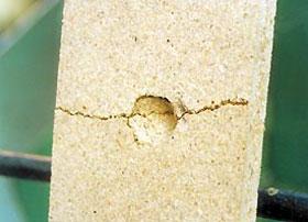 Результаты выстрела из «Осы» в плиту ДСП лицевая (слева) и обратная сторона. Стрельба производилась с дистанции 2 м по плите толщиной 20 мм. Эксперимент наглядно продемонстрировал эффективность «Осы» на коротких дистанциях