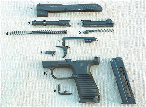 Неполная разборка ГШ-18. 1 – затвор; 2 – ствол; 3 – боевая личинка; 4 – возвратная пружина с направляющим стержнем; 5 – ударник с боевой пружиной; 6 – спусковой механизм; 7 – фиксатор ствола; 8 – затворная задержка; 9 – магазин; 10 – рамка с защёлкой магазина