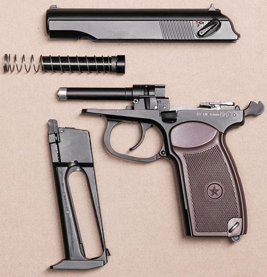 Неполная разборка осуществляется так же, как у боевого пистолета — за исключением фальшствола
