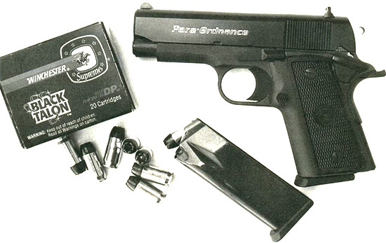 Оптимальными боеприпасами для пистолета «Пара Орднанс» Р12.45 являются патроны «Блэк Талон» производства фирмы «Winchester». Сердечник пули этих патронов заключен в конусообразную оболочку. Сохраняя фактически 100% своего первоначального веса пуля, благодаря своей конструкции, легко пробивает такие препятствия, как плотная одежда, стенная обивка, фанера или автомобильное стекло