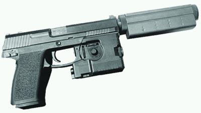 .45 пистолет НК SOCOM Мk. 23 Моd. 0 с глушителем Heckler&Koch «Pelican» и лазерным целеуказателем LAM