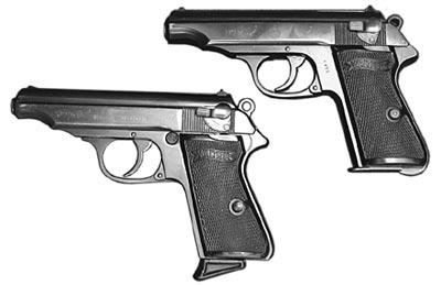 9-мм пистолет «Вальтер» РР (иранский заказ) (сверху); 7,65-мм пистолет «Вальтер» РР (снизу)