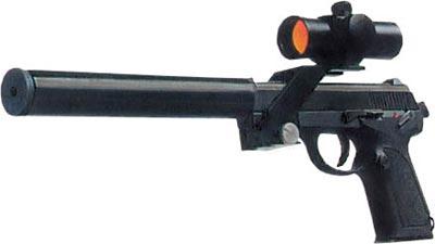 5,8-мм пистолет тип QSZ 92 с прибором для бесшумно-беспламенной стрельбы и оптическим прицелом