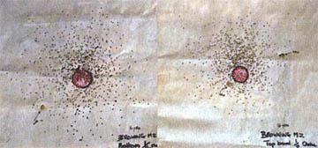 Рис. 6: Разница в разбросе при стрельбе на 15 метров между получоком (справа) и улучшенным цилиндром (слева)