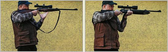 Слева: Неправильная изготовка для динамической стрельбы из крупнокалиберного оружия: сильно отклоненная назад верхняя часть тела стрелка смещает положение центра тяжести от управляющей (левой) ноги назад, к правой,