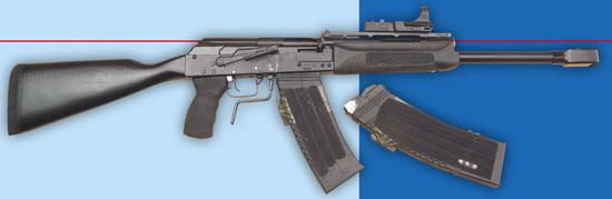 Самозарядное ружьё «Сайга» производства «Ижмаша» (здесь с прицелом C More).
