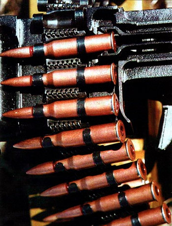 Русскому  патрону 7,62x54 R (7,62x54 мм) – более 120 лет. Он пережил многих  славных своих современников, ушедших в прошлое, и на сегодняшний день  остается мощным пулеметным и снайперским патроном. Для пулемета ПК он  снаряжается в неразборную металлическую ленту с извлечением из нее  «назад», которая применялась для станкового пулемета Горюнова СГ-43
