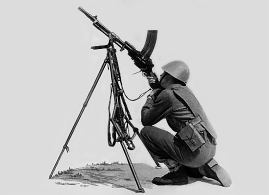Ручной пулемет Madsen модели 1950 года на универсальном станке, в положении для стрельбы по воздушным целям