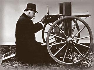 Хайрем Максим со своим изобретением. 1884 год