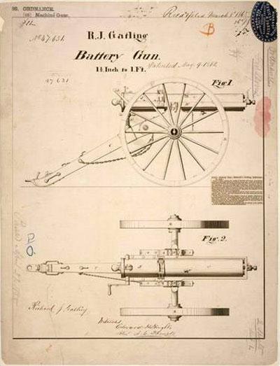 Патент Гатлинга, 1865 год