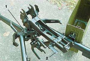Станок конструкции Степанова (6Т5). 1 – ограничители сектора горизонтального наведения; 2 – механизм тонкой наводки пулемёта по вертикали эксцентрикового типа