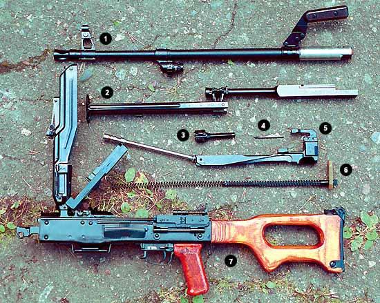 Вид пулемёта ПКМ при неполной разборке. 1 – ствол; 2 – трубка газового поршня с сошкой; 3 – затвор; 4 – ударник; 5 – затворная рама с извлекателем и газовым поршнем; 6 – возвратный механизм; 7 – ствольная коробка с крышкой, основанием приёмника и прикладом
