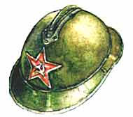 каска Адриана, носимая красноармейцами на парадах в Москве в 1932-34 годах
