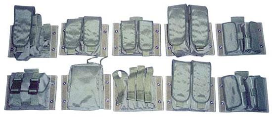 Сменные блоки (СБВ) для тактического жилета «Рысь» Ml5. Верхний ряд (слева направо): правый блок ВОХР (2 магазина для АК, «Черёмуха», обойма ПМ); для 2-х магазинов 9А-91; для 2-х магазинов «Вал»/«Винторез»; для 4-х магазинов АК; для 12-ти выстрелов 12 калибра. Нижний ряд (слева направо): багажный блок (БАГ); сапёрный блок (САП); для 4-х магазинов ПП; для 2-х магазинов АК; для 24-х выстрелов 12 калибра