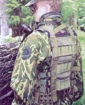 Тактический жилет «Выпь» М02. Вид со спины. Видны мягкие наплечники, сетка, узлы крепления навесных сумок. Пристёгнут пистолетный ремень