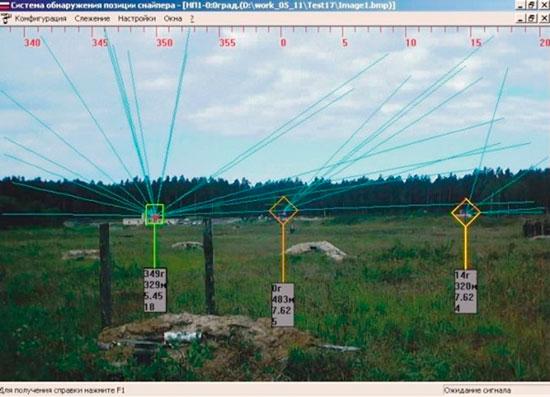 Рис. 2. Варианты вывода информации об обнаруженных целях на монитор оператора: а) наложение траекторий на цифровой снимок местности; б) вид в плане.