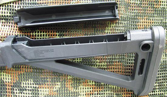 Нескладной приклад MOE AK — «багажный» отсек открыт