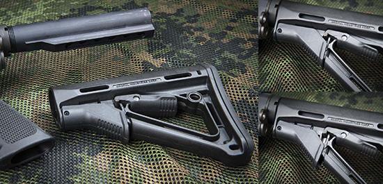 Приклады Magpul CTR (вверху) и Magpul ACS-L (внизу) отлично подойдут на  короткую AR-15. Они легкие, прочные и совершенно не люфтят. При этом для  СTR можно докупить повышающую щеку, а у ACS-L есть отсек для хранения  аксессуаров