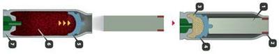 Для пистолета ПСС («пистолет специальный самозарядный») был разработан бесшумный патрон СП-4. Цилиндрическая стальная пуля с медным ведущим пояском в головной части в снаряженном состоянии полностью утоплена в стальной гильзе патрона (заподлицо со срезом дульца гильзы). Пороховой заряд спереди прикрыт поршнем-колпачком, который при выстреле выталкивает пулю, но сам отсекает пороховые газы, которые остаются внутри гильзы