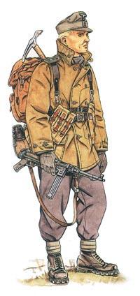 Германский горный стрелок-егерь одет в ветрозащитную горную куртку