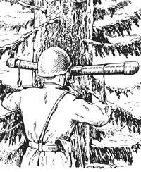 Наблюдение в стереотрубу АСТ из-за ствола дерева (зрительные трубы разведены)