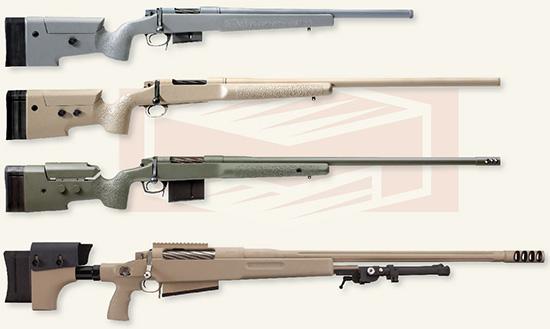 Линейка McMillan TAC — тактические снайперские винтовки в калибрах .308  Win, .300 WinMag, .338 Lapua Mag и .50 BMG. Предназначены для военных и  полиции, но доступны также и гражданским стрелкам