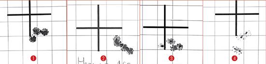 Результаты отстрела McMillan Alias CS5 на дистанции 100м: 1) и 2)—  патронами Hornady BTHP Match 168 гран, 3) дозвуковыми Nexus Subsonic  Match 175 гран и 4) дозвуковыми Nexus Subsonic Match 220 гран