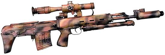 Снайперская винтовка СВУ-АС с оптическим прицелом и пламегасителем в камуфлированной окраске. Вид справа. Сошки сложены