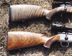Приклады тестируемых ружей: слева - Mannlicher , справа - Blaser R93