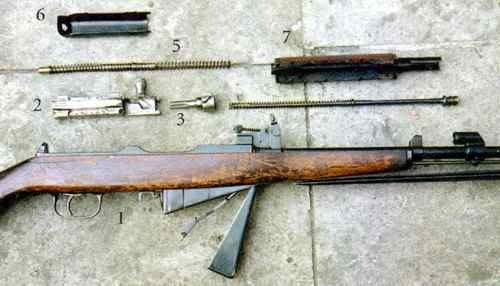 Детали карабина M1945: 1 - ствольная коробка со стволом: УСМ, штыком и ложей; 2 - затворная рама; 3 - затвор; 4 - газовый поршень с возвратной пружиной; 5 - возвратный механизм; 6 - крышка ствольной коробки; 7 - ствольная накладка.