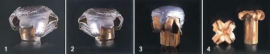 Различные типы после попадания в тело животного: 1 - Super Hammerhead; 2 - Hammerhead; 3 - Twinhead; 4 - Powerhead
