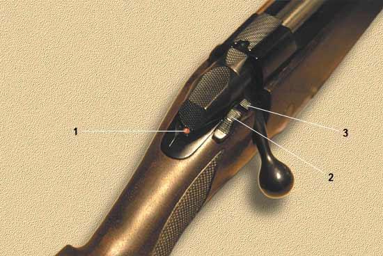 1 - указатель взведения ударника (красная марка видна при взведённом ударнике); 2 - предохранитель; 3 - кнопка, используемая для разряжания оружия