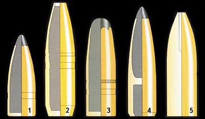 Различные типы пуль, используемые фирмой SAKO при снаряжении патронов: 1 - Gamehead; 2 - Super Hammerhead; 3 - Hammerhead; 4 - Twinhead; 5 - Powerhead