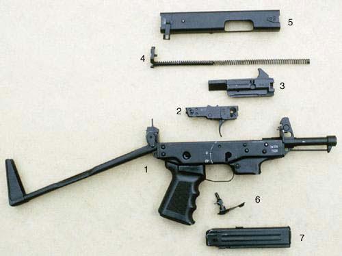 Детали неполной разборки ПКСК: 1 - ствольная коробка со стволом, прикладом и пистолетной рукояткой; 2 - ударно-спусковой механизм; 3 - затвор; 4 - возвратный механизм; 5 - крышка ствольной коробки; 6 - предохранитель; 7 - магазин