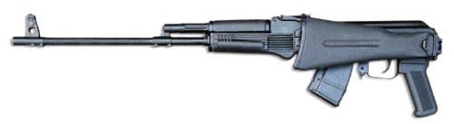 «Сайга-М3» со складывающимся прикладом.Одна из перспективных моделей «Ижмаша». Карабин разработан под патрон 7,62 х 39. Длина ствола 555 мм. Возможна стрельба при сложенном прикладе.