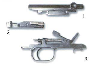 Детали карабина СКС. 1 - затворная рама; 2 - затвор; 3 - ударно-спусковой механизм