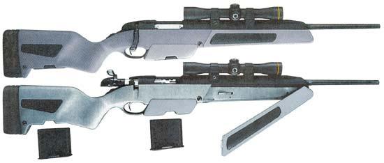 Винтовки Scout продаются с магазинами емкостью на 5 (вверху) и 10 (внизу) патронов, отдельно можно приобрести также набор для переоборудования пятизарядной винтовки в десятизарядную. Однако во всех случаях они комплектуются оптическим прицелом Leupold 2,5x Scout Scope. который входит в комплект поставки, называемый «The Jeff Cooper Package»