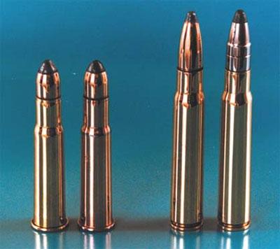 9-мм охотничьи патроны. 1 - патрон 9х53 с латунной гильзой, 2 - патрон 9х53 с биметаллической гильзой, 3 - отечественный патрон 9,3х64, разработанный в ЦНИИТОЧМАШ 4 - патрон 9,3х64 немецкой фирмы Dynamit Nobel