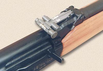 Регулируемый целик, унаследованый «Вепрём» от пулемёта, позволяет опытному стрелку вводить поправку на ветер при стрельбе на большие дистанции