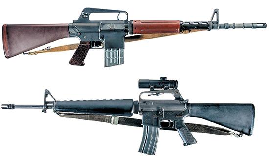 История  популярности винтовок AR-15 начиналась с Armalite AR-10 (вверху)  и Colt AR-15, выпущенной специально для гражданского рынка